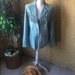 100% Suede Cowgirl Fringed Jacket. Med.